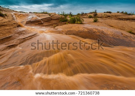 Storm clouds, rain and flash floods in the Utah desert, in autumn Stock photo ©