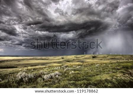 Storm Clouds Saskatchewan Wind Farm Swift Current Canada