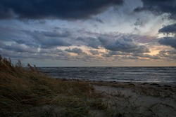 Storm clouds, storm Passing over Sea, dramatic clouds after storm
