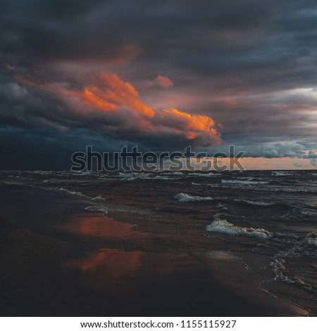 Storm clouds, storm Passing over Sea, dramatic clouds after storm coast line  #1155115927