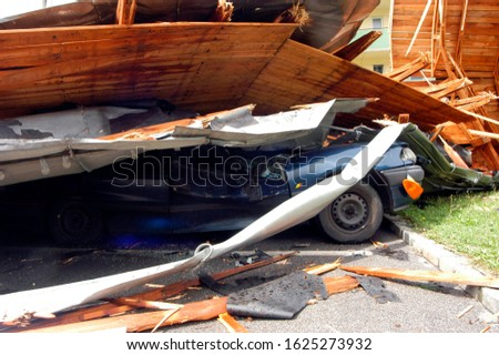 storm damage to a car