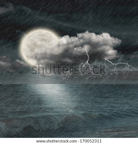 storm evening on ocean and the moon