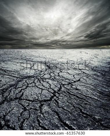 Storm in desert - stock photo