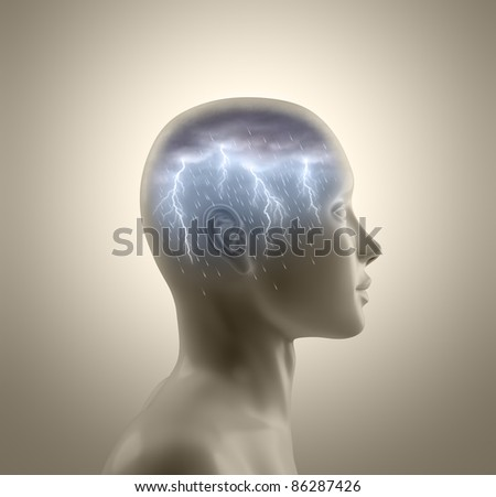 Storm inside the head. Lightning and rain falls from the clouds symbolizing the concept of brainstorm.