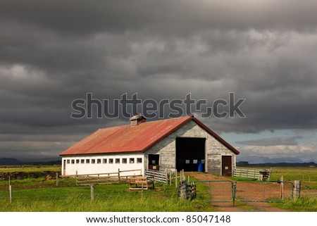 Storm looming over a farm in Iceland