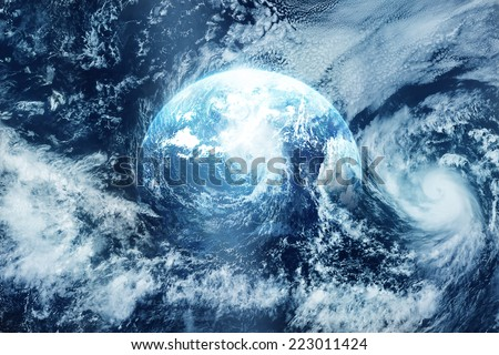 Storm on the earth, view from space, Original image free from public domain www.NASA.gov
