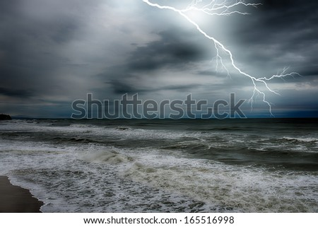 Storm on the sea after a rain. HDR image