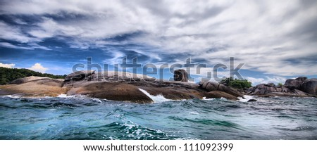 Storm on the sea. Nature composition