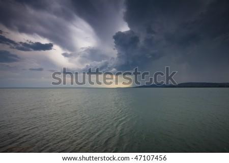 storm over the lake Balaton-Hungary