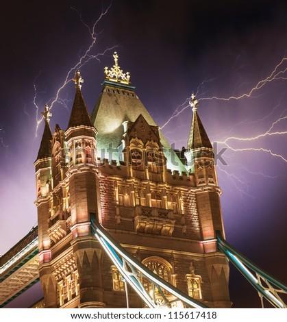 Storm over Tower Bridge at night - London - UK