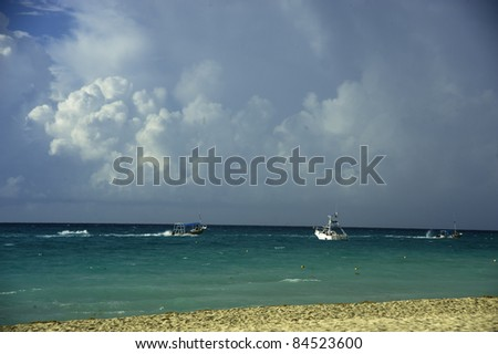 Storm's approaching the beach on Playa del Carmen