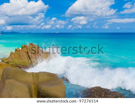Storm Stones Seascape - stock photo