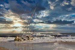 Storm surf and shipwrecks on East Beach Santa Barbara