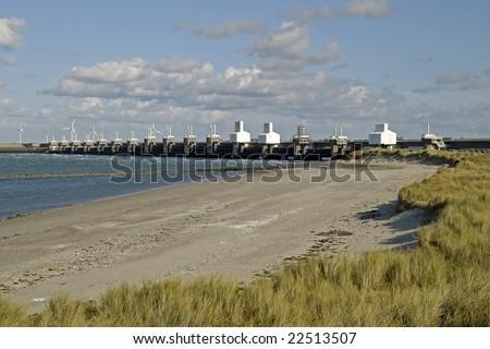 Storm surge barrier in Zeeland, Netherlands. Build after the storm disaster in 1953.