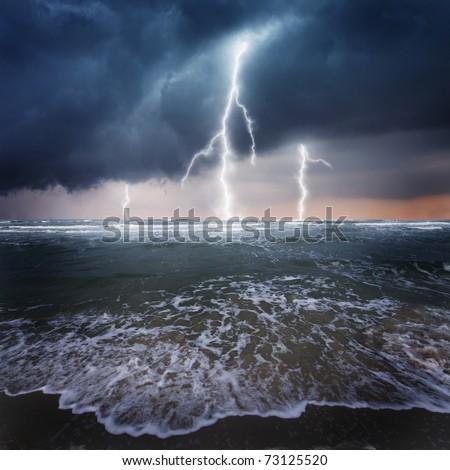 Storm, thunder on the ocean
