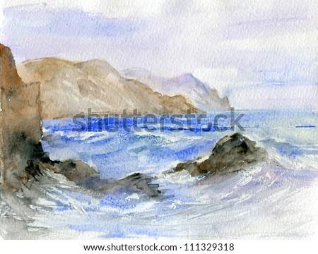 storm. watercolor landscape