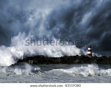 Storm waves over beacon of the harbor of Povoa do Varzim, Portugal - enhanced sky - stock photo