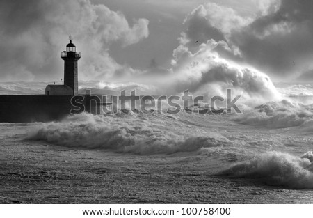 Storm waves over the Lighthouse, Portugal - enhanced sky