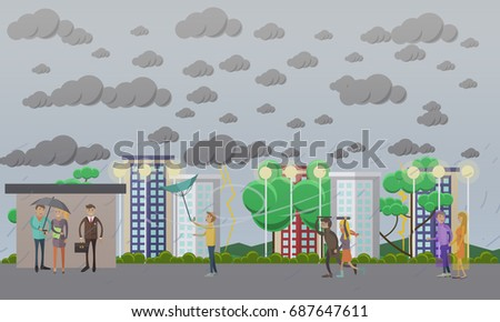 Storm, windy and rainy weather concept illustration in flat style. People running away from heavy rain, thunderstorm, lightning and waiting for bus at bus stop.