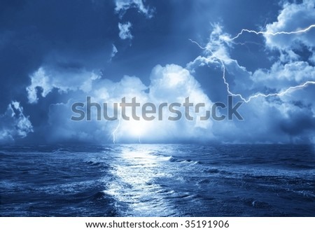 storm with lightnings in night