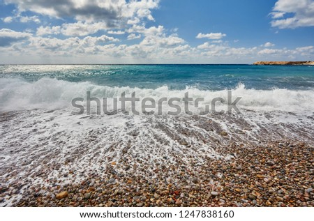 Storming sea and wide-spreading waves, Cyprus coastline. #1247838160