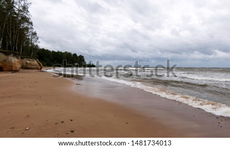 Storming sea with a thundercloud above, a lone birch tree on a the edge of a cliff, beautiful rugged coastline with waves crashing against the cliffs, Veczemju cliffs, Latvia #1481734013