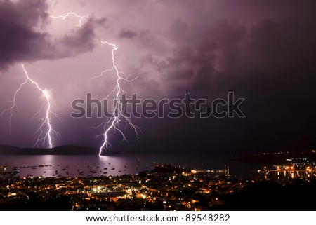 Storms with lightning above the resort in Bodrum Turkey