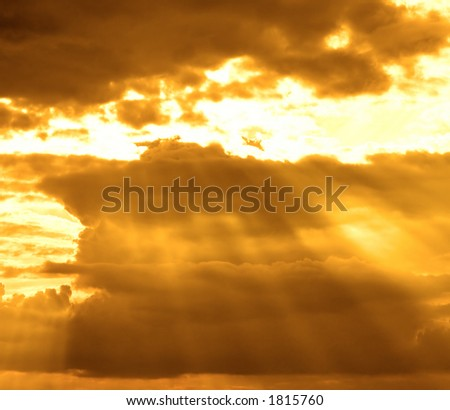 stormy cloud with sun rays