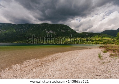 Stormy Clouds above Alpine Lake Photo stock ©