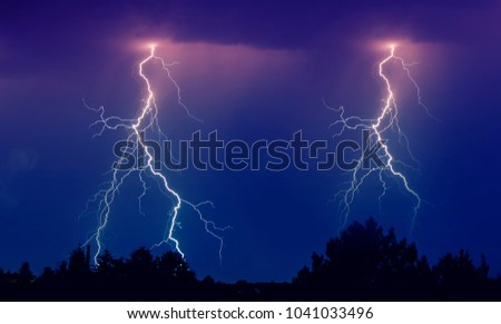 stormy clouds and lightning at night