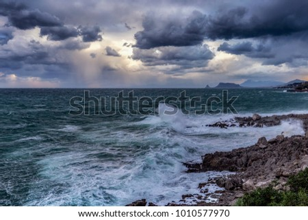 Stormy Coast with waves on the Island of Sicily #1010577970