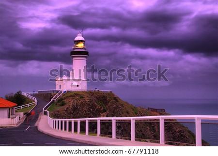 stormy evening sky over Byron Bay, The Byron Bay Lighthouse, NSW, Australia - stock photo