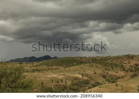 Stormy gray cloudy weather darkens afternoon landscape of wild desert vegetation/Thunderstorm Gray Clouds over Semi-Desert Grassy Hills/Stormy rain clouds darken gray sky over rolling hills