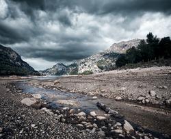 Stormy mountain landscape