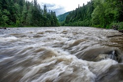 Stormy mountain river in the Carpathian mountains, Ukraine. Long exposure.