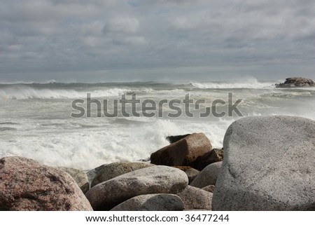 Stormy ocean during hurricane Bill - stock photo