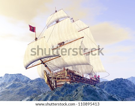 Stormy Ocean with Sailing Ship Computer generated 3D illustration