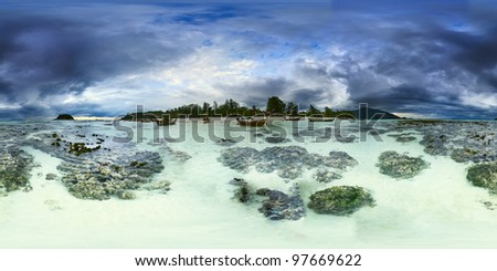 Stormy panoramic landscape. Ebb on the Koh Lipe island. Thailand