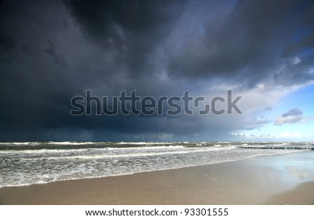 Stormy sea and heavy clouds