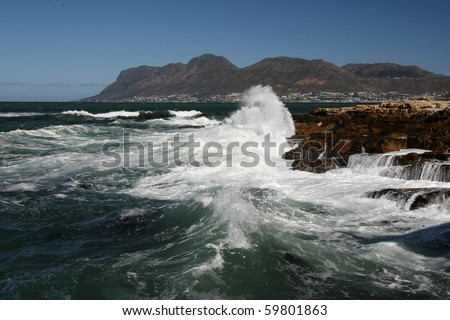 Stormy sea and waves on the South African coast in Cape Town