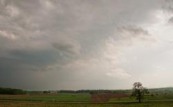 Stormy skies over a field in spring at Gettysburg, Pennsylvania