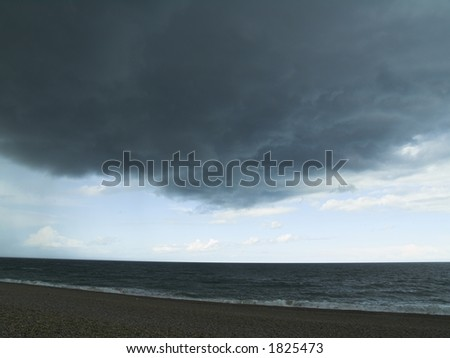 Stormy sky at Cley beach, North Norfolk UK