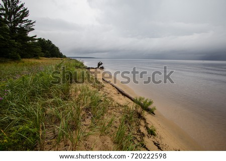 Stormy Sky Over Lake Superior. Storm clouds over the horizon of Lake Superior on a summer afternoon in the Upper Peninsula of Michigan.