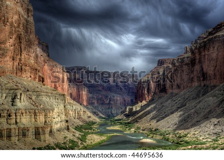 Stormy sky over the Grand Canyon from the Nankoweap Granaries