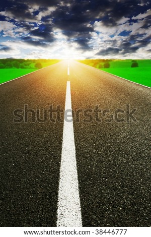 Stormy sky,road and sun.