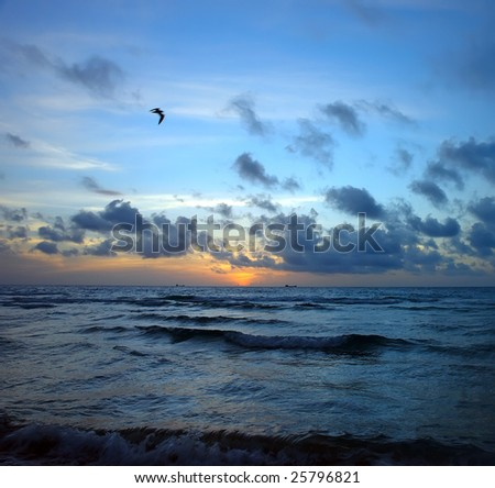 Stormy sunrise, Atlantic ocean coast, FL, USA