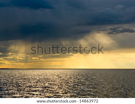 Stormy sunset over the sea