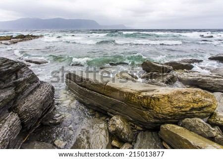 stormy surf at Lobster Cove, Rocky Harbour, Newfoundland, Canada