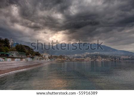 Stormy weather clouds approaching the beach. Yalta, Crimea, Ukraine