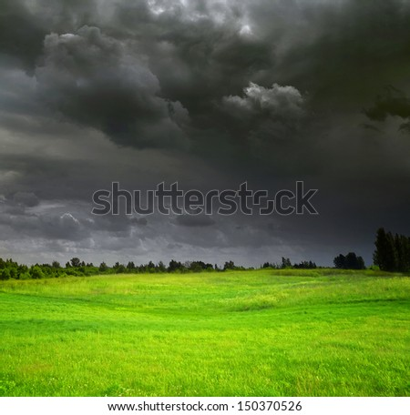 Stormy weather, countryside landscape